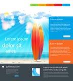 Het Malplaatjeachtergrond van de websitevakantie met surfplank Stock Fotografie