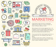 Het malplaatjeconcept van bedrijfsinfographics dun lijnen Pictogrammenontwerp voor uw product of ontwerp, Web en mobiele toepassi Stock Fotografie