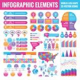 Het malplaatjeinzameling van Infographicelementen - bedrijfs vectorillustratie voor presentatie, boekje, website en ander ontwerp stock illustratie