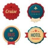 Het malplaatjeinzameling van reis Uitstekende Etiketten. Toerisme Stock Foto's
