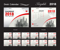 Het malplaatjeontwerp van de bureaukalender 2018, rode dekking, Reeks van 12 Maanden vector illustratie