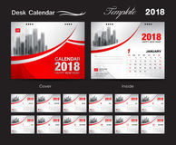 Het malplaatjeontwerp van de bureaukalender 2018, rode dekking, Reeks van 12 Maanden, vector illustratie