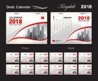 Het malplaatjeontwerp van de bureaukalender 2018, rode dekking, Reeks van 12 Maanden, Royalty-vrije Stock Afbeelding
