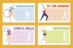 Het malplaatjeontwerp van de lay-outbanner voor sportevenement, toernooien of kampioenschap - de kaart van de sportgroet stock illustratie
