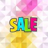 Het malplaatjeontwerp van de verkoop abstract banner op zachte veelhoekige elegante achtergrond Speciale aanbieding, kleurrijke b Stock Afbeeldingen