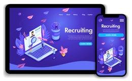 Het malplaatjeontwerp van de website Het isometrische concept Aanwerven Creatieve het personeel van het baanagentschap vindt erva royalty-vrije illustratie
