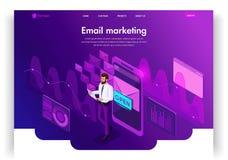Het malplaatjeontwerp van de website Isometrische conceptene-mail Inbox Elektronische Communicatie E-mailmarketing, marketing ond stock illustratie
