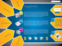 Het malplaatjeontwerp van de website met etiketten en stickers Stock Afbeeldingen