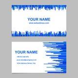 Het het malplaatjeontwerp van het kleurenadreskaartje plaatste - vectorbedrijf grafisch met verticale lijnen in blauwe tonen Stock Foto's