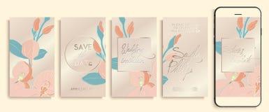 Het malplaatjepak van het Editable instagram verhaal met orchideebloemen en bladeren Huwelijksuitnodiging met roos en gouden klav royalty-vrije illustratie