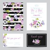 Het malplaatjereeks van de huwelijksuitnodiging Botanische Kaart met Hydrangea hortensiabloemen en Vlinders Begroetende Bloemenpr Stock Fotografie