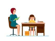Het mamma controleert thuiswerk van dochter, doet het meisje lessen bij lijst vector illustratie