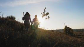 Het mamma en de dochter gaan gaand een boom planten stock videobeelden