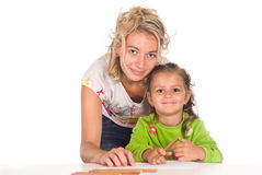Het mamma en de dochter trekken Stock Foto
