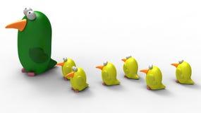 Het mamma en de kuikens van de papegaai Royalty-vrije Stock Afbeeldingen