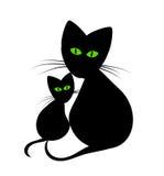 Het mamma en het katje van de kat Stock Foto