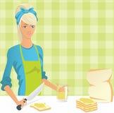 Het mamma maakt sandwiches Stock Afbeelding