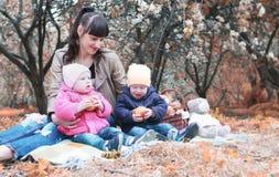 Het mamma van het de herfstpark met tweelingen op plaid openlucht in appeltuin Stock Afbeeldingen