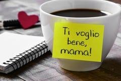 Het mamma van tekstti voglio benne, houd ik van u mamma in het Italiaans Stock Fotografie