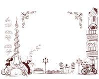 Het maniermeisje berijdt een fiets, met een muzikale staaf en vlinders wordt verfraaid die Stock Afbeeldingen