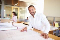 Het mannelijke Bureau van Architectenstudying plans in Stock Fotografie