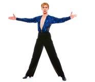 Het mannelijke de danser van de balzaal stellen op witte achtergrond Stock Foto's