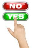 Het mannelijke Hand Groot Duwen knoopt ja dicht royalty-vrije stock foto