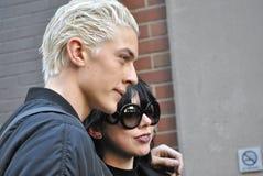 Het mannelijke model stelt tijdens de stad van New York fashionweek op 18 februari 2015 Stock Foto