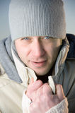 Het mannelijke portret van de winter. Stock Afbeeldingen