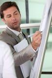 Het mannelijke uitvoerende schrijven op een hoogtepunt - rangschik flipchart stock foto's