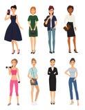 Het mannequinmeisje kleedt karakter kijkt stijl de elegante vrouw het winkelen modieuze kleding van glamour feemale meisjes Royalty-vrije Stock Fotografie