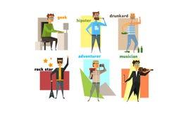 Het mannetje charactes plaatste, mensenhobbys, beroepen en levensstijlen, geek, hipster, rockstar alcoholist, avonturier, musicus stock illustratie
