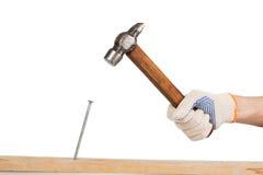 Het mannetje dient het werk handschoenklappen de spijker in een houten raad in Stock Afbeelding