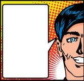 Het mannetje van het pop-art met toespraakspatie Royalty-vrije Stock Fotografie