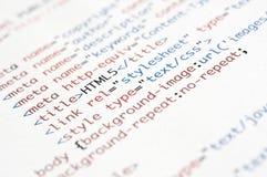 Het Manuscript van HTML stock foto's