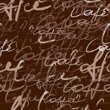 Het manuscriptpatroon van de koffie Stock Afbeelding