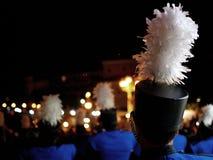 Het marcheren band in de nacht stock afbeelding