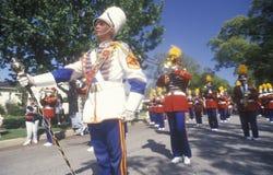 Het marcheren Band in 4 de Parade van Juli, Vreedzame Palissaden, Californië Royalty-vrije Stock Fotografie