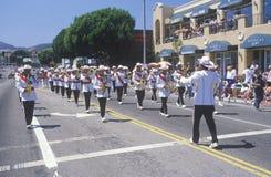 Het marcheren Band in 4 de Parade van Juli, Vreedzame Palissaden, Californië Royalty-vrije Stock Foto