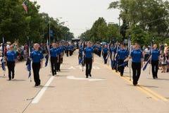 Het marcheren band in een parade van de onafhankelijkheidsdag Stock Foto