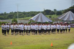 Het marcheren band voerde muzikale activiteit bij de Davao del Sur atletische grond uit, Matti, Digos-Stad, Davao del Sur, Filipp royalty-vrije stock afbeeldingen