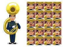 Het marcheren de Band Tuba Cartoon Emotion ziet Vectorillustratie onder ogen vector illustratie