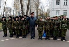 Het marcheren van parade in de kadetkorpsen van de politie Stock Afbeelding