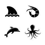 Het mariene leven Eenvoudige Verwante Vectorpictogrammen vector illustratie