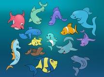 Het mariene leven - illustratie Stock Afbeeldingen