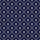 Het marineblauwe en Witte Keltische Dwarspatroon van de Symbooltegel herhaalt terug Stock Foto