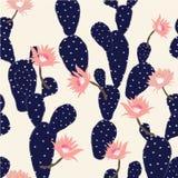 Het marineblauwe Hand getrokken naadloze patroon van de cactus tropische tuin Stock Foto's