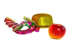 Het masker en de appel van de hoed stock fotografie
