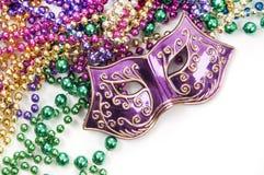 Het masker en de parels van Gras van Mardi Royalty-vrije Stock Afbeeldingen