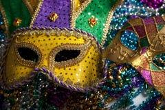 Het Masker en de Parels van Gras van Mardi Stock Fotografie